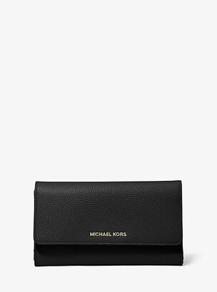 MICHAEL Michael Kors MK Pebbled Leather Tri-Fold Wallet - Black - Michael Kors