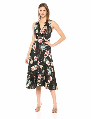 Maggy London Women's Printed Floral Charmeuse Sleeveless fit and Flare