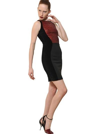 Antonio Berardi Croco Silk Jacquard & Viscose Cady Dress