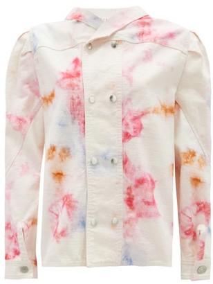 Isabel Marant Espera Tie Dye-print Cotton Top - Womens - Pink Multi