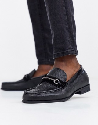 Ben Sherman wide fit metal bar loafer in black