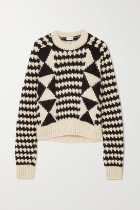 Saint Laurent Cable-knit Wool-blend Sweater - Black