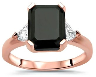 Overstock 14k Rose Gold 3.20ct Black Emerald Cut Diamond and Trillion 3 Stone Engagement Ring