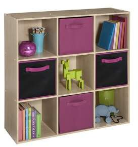 ClosetMaid Cubeicals 9 Cube Bookcase with 4 Fabric Bins Color: Birch/Fuchsia
