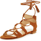 Stuart Weitzman Romanflat Suede Flat Gladiator Sandal, Amaretto
