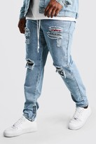 boohoo Mens Grey Big And Tall Rip And Repair Skinny Jean, Grey