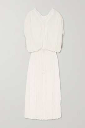 ELENA MAKRI Mirita Crochet-trimmed Pleated Silk-tulle Dress - White