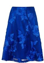Quiz Royal Blue Mesh Applique Flare Midi Skirt