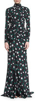Carolina Herrera Long-Sleeve Floral-Print Mock-Neck Gown, Green/Black/White