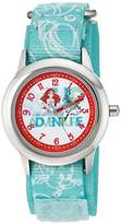 Disney Girl's 'Ariel' Quartz Stainless Steel and Nylon Casual Watch, Color:Green (Model: WDS000045)