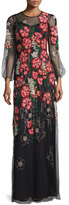 Jenny Packham Long-Sleeve Embroidered-Floral Dress, Black