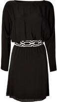 L'Agence LAgence Black Belted Dolman Silk Dress