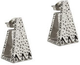 House Of Harlow 1960 Silvertone Hammered Scutum Trapezoid Earrings