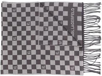 Karl Lagerfeld Paris Checkered Print Scarf