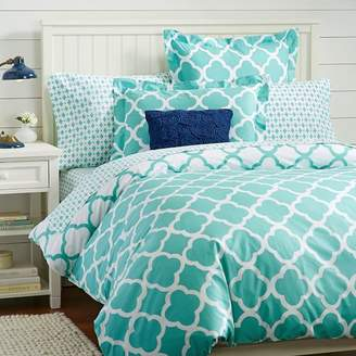 Pottery Barn Teen Lucky Clover Reversible Duvet Cover, Full/Queen, Pool