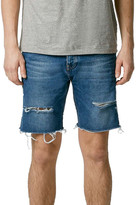 Topman Ripped Skinny Fit Cutoff Denim Shorts