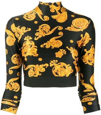 Versace Baroque Print Cropped Top