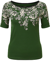 Marc Cain Floral Print Jersey Top, Pine Needle