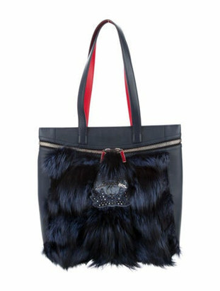 Christian Louboutin Fur-Trimmed Leather Tote Navy