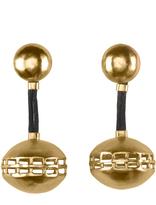 Josie Natori Gold Brass Cage Round Earrings