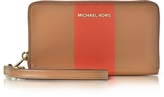 Michael Kors Jet Set Travel Large Central Stripe Acorn & Orange Leather Phone Case/Wallet