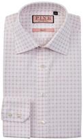 Thomas Pink Belcher Slim Fit Grid Pattern Dress Shirt