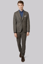 Moss Bros Slim Fit Light Brown Check Suit