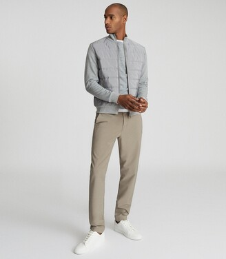 Reiss Fire - Slim Fit Performance Trousers in Taupe