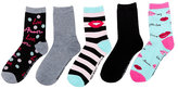Betsey Johnson Lots Of Love Crew Sock Five Pack