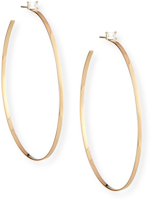 Lana 14k Gold Hoop Earrings with Emerald-Cut Diamond