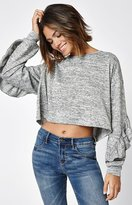 La Hearts Ruffle Sleeve Pullover Sweater