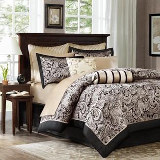 12-Piece Luxury Comforter Set in Gold Jacquard, Queen
