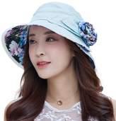 Siggi UPF50+ Summer Sunhat 100%Linen Bucket Packable Breathable Wide Brim Hats w/ Chin Cord for Women Navy Blue
