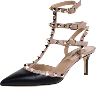 Valentino Black/Beige Leather Rockstud Pointed Toe Ankle Strap Sandals Size 36