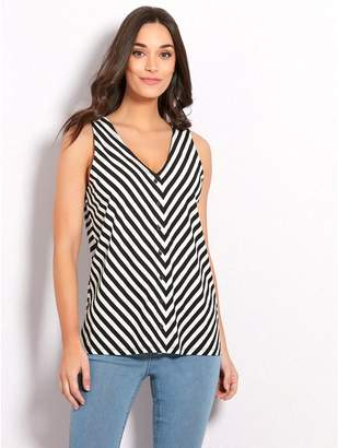 M&Co Stripe button front vest top