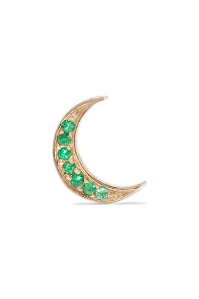 Andrea Fohrman Mini Crescent 14-karat Gold Emerald Earring