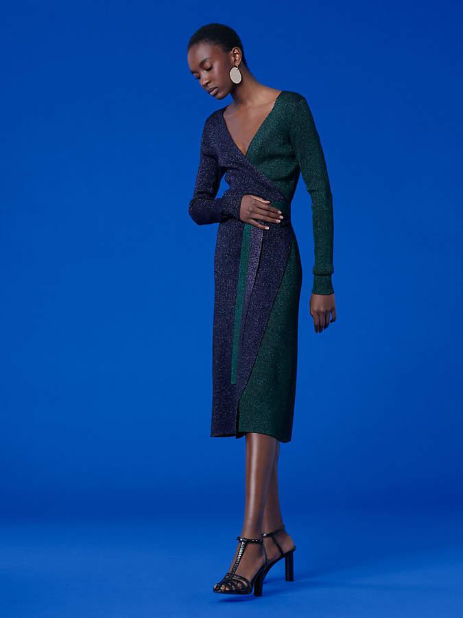 Diane von Furstenberg Long-Sleeve Metallic Knit Wrap Dress