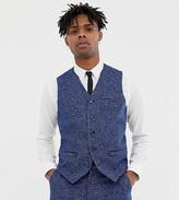 Heart N Dagger skinny fit suit vest in blue dogstooth
