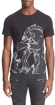 Just Cavalli Men's 'Fighting Tigers' Embroidered Applique T-Shirt
