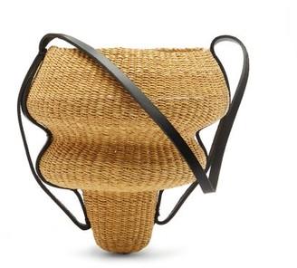 Ines Bressand - N.8 Large Wave-shaped Straw Bucket Bag - Black Multi