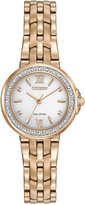 Citizen Women's Eco-Drive Diamond Accent Gold-Tone Stainless Steel Bracelet Watch 28mm EM0443-59A