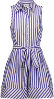Milly Striped cotton-poplin mini dress