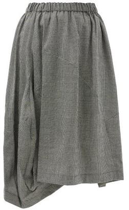 Comme des Garçons Comme des Garçons Asymmetric Wool-blend Houndstooth Skirt - Black White