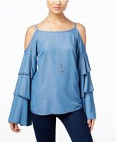 INC International Concepts Denim Ruffled Cold-Shoulder Top, Created for Macy's