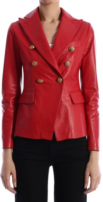 Tagliatore Leather Jacket Red