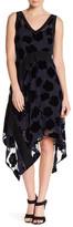 DKNY Velvet Flower Sharkbite Midi Dress