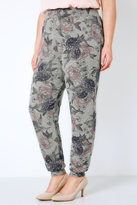 Yours Clothing Grey & Multi Floral Print Cut & Sew Knit Jogger-Style Harems