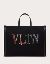 Thumbnail for your product : Valentino Garavani Uomo Large Vltn Graph Canvas Tote Bag Man Black 63% Cotton 37% Linen OneSize