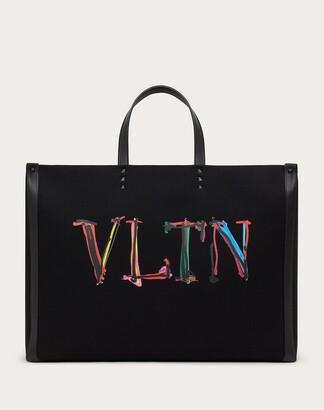 Valentino Garavani Uomo Large Vltn Graph Canvas Tote Bag Man Black 63% Cotton 37% Linen OneSize