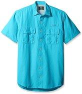 G.H. Bass Men's Big and Tall Short Sleeve Explorer Solid Fishing Shirt